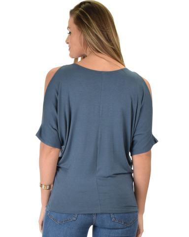 Lyss Loo Contemporary Cold Shoulder Blue Dolman Tunic Top - Jeanetteshus