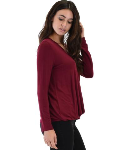 Lyss Loo Sweeter Than Sugar Burgundy Long Sleeve Cross Straps Top - Jeanetteshus