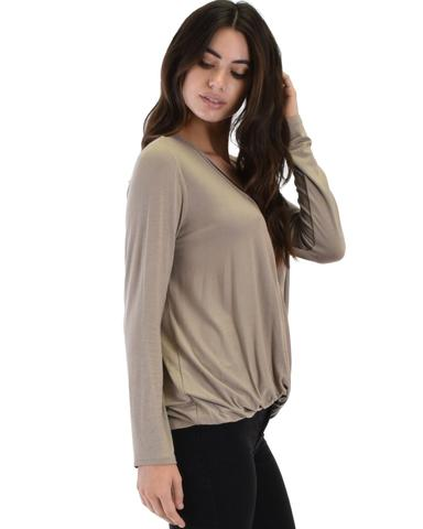 Lyss Loo Lyss Loo Sweeter Than Sugar Taupe Long Sleeve Cross Straps Top - Jeanetteshus