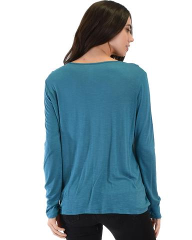 Lyss Loo Sweeter Than Sugar Teal Long Sleeve Cross Straps Top - Jeanetteshus