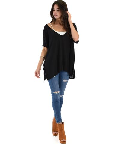 Lyss Loo Wide Neck Oversized Black Thermal Top - Jeanetteshus