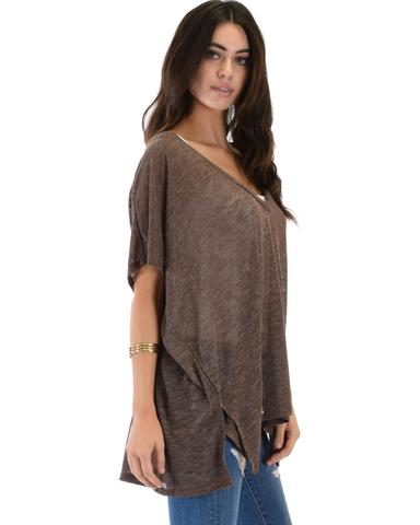 Lyss Loo Wide Neck Oversized Brown Thermal Top - Jeanetteshus