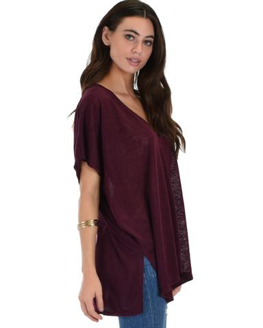Lyss Loo Wide Neck Oversized Burgundy Thermal Top - Jeanetteshus