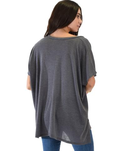 Lyss Loo Wide Neck Oversized Charcoal Thermal Top - Jeanetteshus