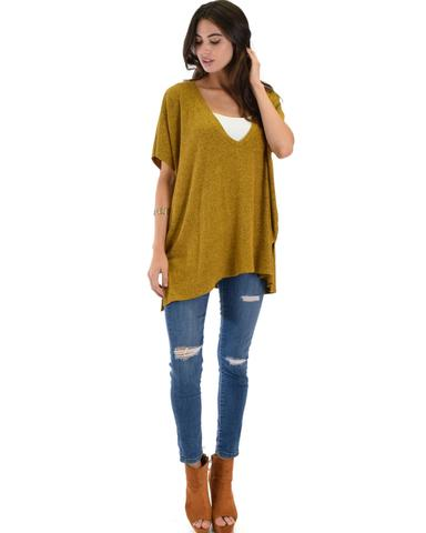 Lyss Loo Wide Neck Oversized Mustard Thermal Top - Jeanetteshus