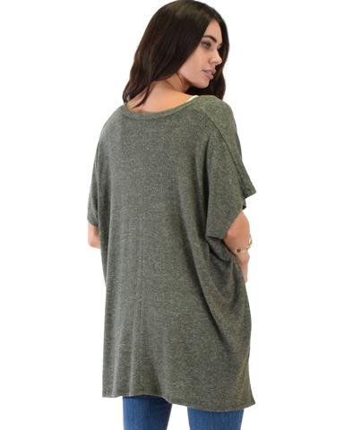Lyss Loo Wide Neck Oversized Olive Thermal Top - Jeanetteshus