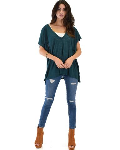 Lyss Loo Wide Neck Oversized Teal Thermal Top - Jeanetteshus