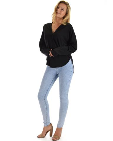 Work It Out V-neck Hoodie Long Sleeve Top