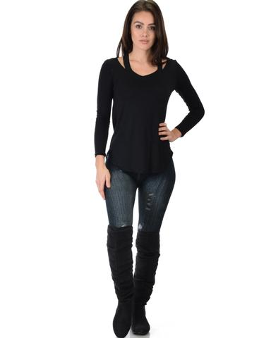 Lyss Loo Cut Me Out Cold Shoulder Black Long Sleeve Top - Jeanetteshus