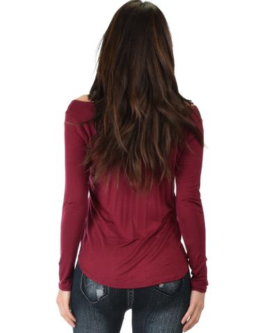 Lyss Loo Cut Me Out Cold Shoulder Burgundy Long Sleeve Top - Jeanetteshus