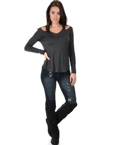 Lyss Loo Cut Me Out Cold Shoulder Charcoal Long Sleeve Top - Jeanetteshus