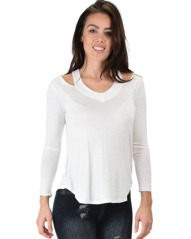 Lyss Loo Cut Me Out Cold Shoulder Ivory Long Sleeve Top - Jeanetteshus