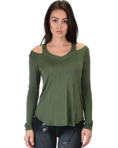 Lyss Loo Cut Me Out Cold Shoulder Olive Long Sleeve Top - Jeanetteshus