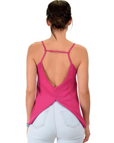 Lyss Loo What's Strap-Pening Cross Back Straps Magenta Tank Top - Jeanetteshus