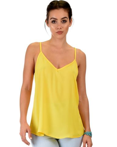 Lyss Loo What's Strap-Pening Cross Back Straps Yellow Tank Top - Jeanetteshus