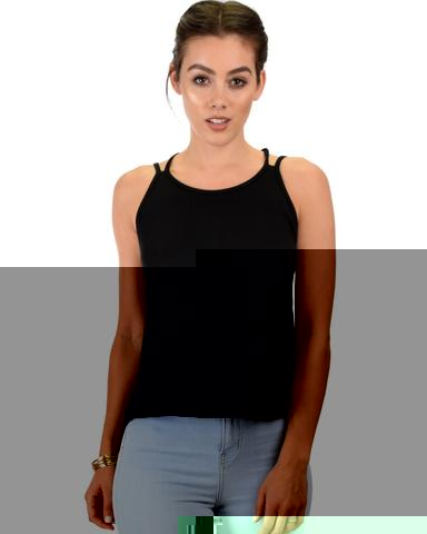 Lyss Loo My Favorite Cross Back Straps Black Tank Top - Jeanetteshus