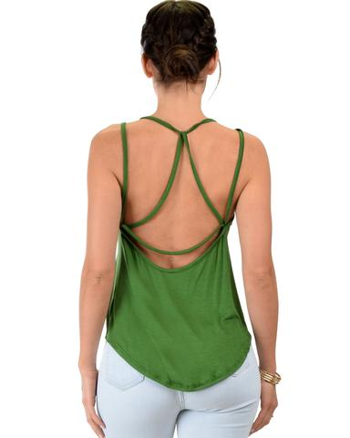 Lyss Loo My Favorite Cross Back Straps Green Tank Top - Jeanetteshus