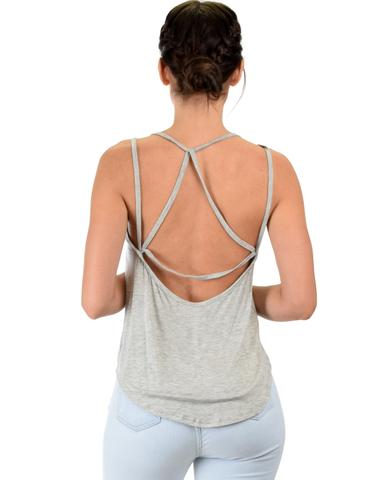 Lyss Loo My Favorite Cross Back Straps Grey Tank Top - Jeanetteshus