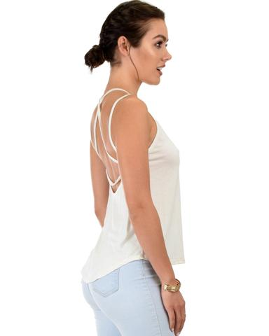 Lyss Loo My Favorite Cross Back Straps Ivory Tank Top - Jeanetteshus