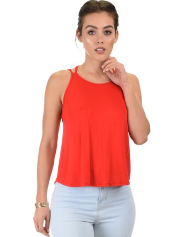 Lyss Loo My Favorite Cross Back Straps Red Tank Top - Jeanetteshus