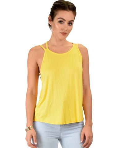 Lyss Loo My Favorite Cross Back Straps Yellow Tank Top - Jeanetteshus