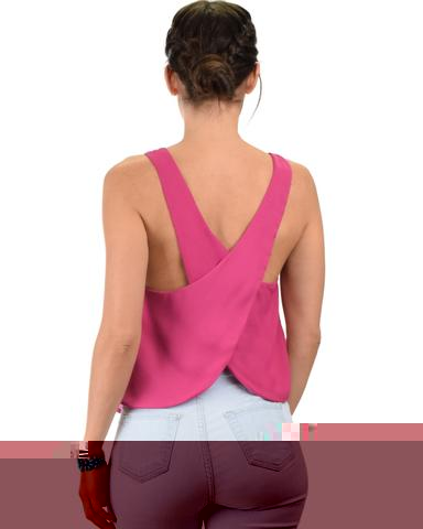 Lyss Loo Totally Crossed Out Magenta Tank Top - Jeanetteshus