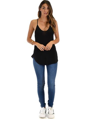 Lyss Loo Breezy Beauty Y-Back Black Tank Top - Jeanetteshus