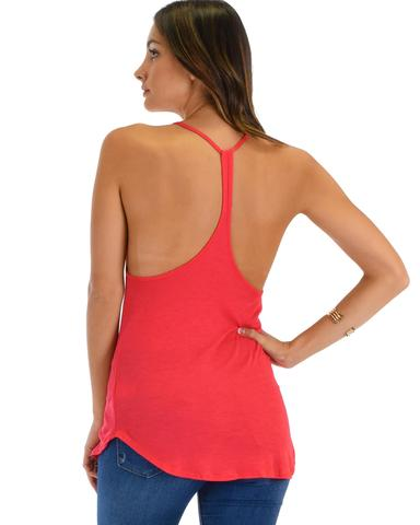 Lyss Loo Breezy Beauty Y-Back Red Tank Top - Jeanetteshus