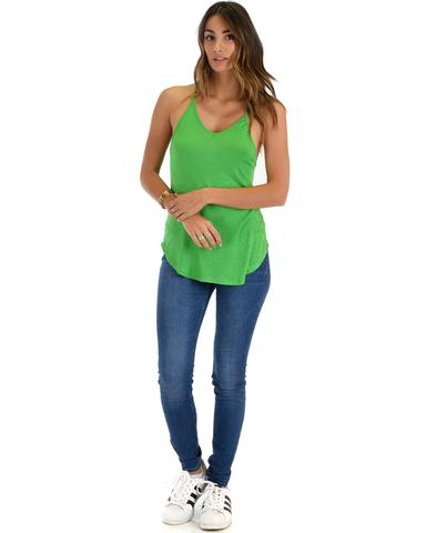 Lyss Loo Breezy Beauty Y-Back Green Tank Top - Jeanetteshus