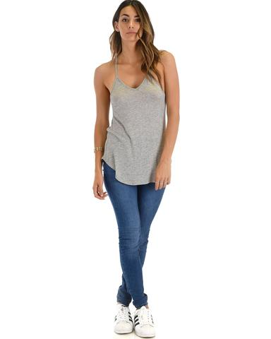 Lyss Loo Breezy Beauty Y-Back Grey Tank Top - Jeanetteshus