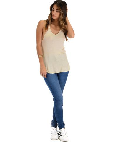 Lyss Loo Breezy Beauty Y-Back Taupe Tank Top - Jeanetteshus