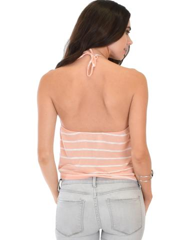 Dapperly Draped Striped Halter Top