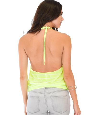 Lyss Loo Dapperly Draped Striped Neon Halter Top - Jeanetteshus
