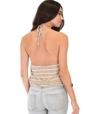 Lyss Loo Dapperly Draped Striped Taupe Halter Top - Jeanetteshus