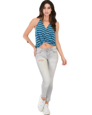 Lyss Loo Dapperly Draped Striped Blue Halter Top - Jeanetteshus